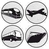 Bus, boat, plane , train — Stock Vector