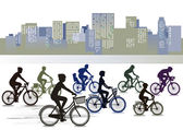 Biking in the city — Stock Vector