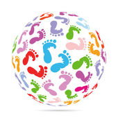 Funny baby footprints — Stock Vector