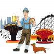 Bavarian man with beer at Oktoberfest — Stock Vector