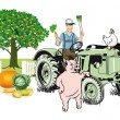 Farmer on Tractor with his animals — Stock Vector #49110325