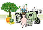 Farmer on Tractor with his animals — Stock Vector