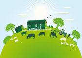 Granja verde — Vector de stock