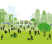 Family-friendly city — Stock Vector
