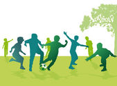 Boys playing football — Stock Vector