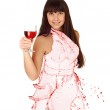 Water shaped girl created from wine splash isolated in white — Stock Photo #10928392