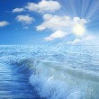 Sea blue sky and clouds — Stock Photo