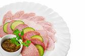 Antipasto da carne isolato su sfondo bianco — Foto Stock