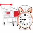 Shopping cart with clock — Stock Photo #12700043