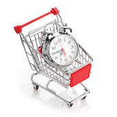 Buying time concept with clock — Stock Photo