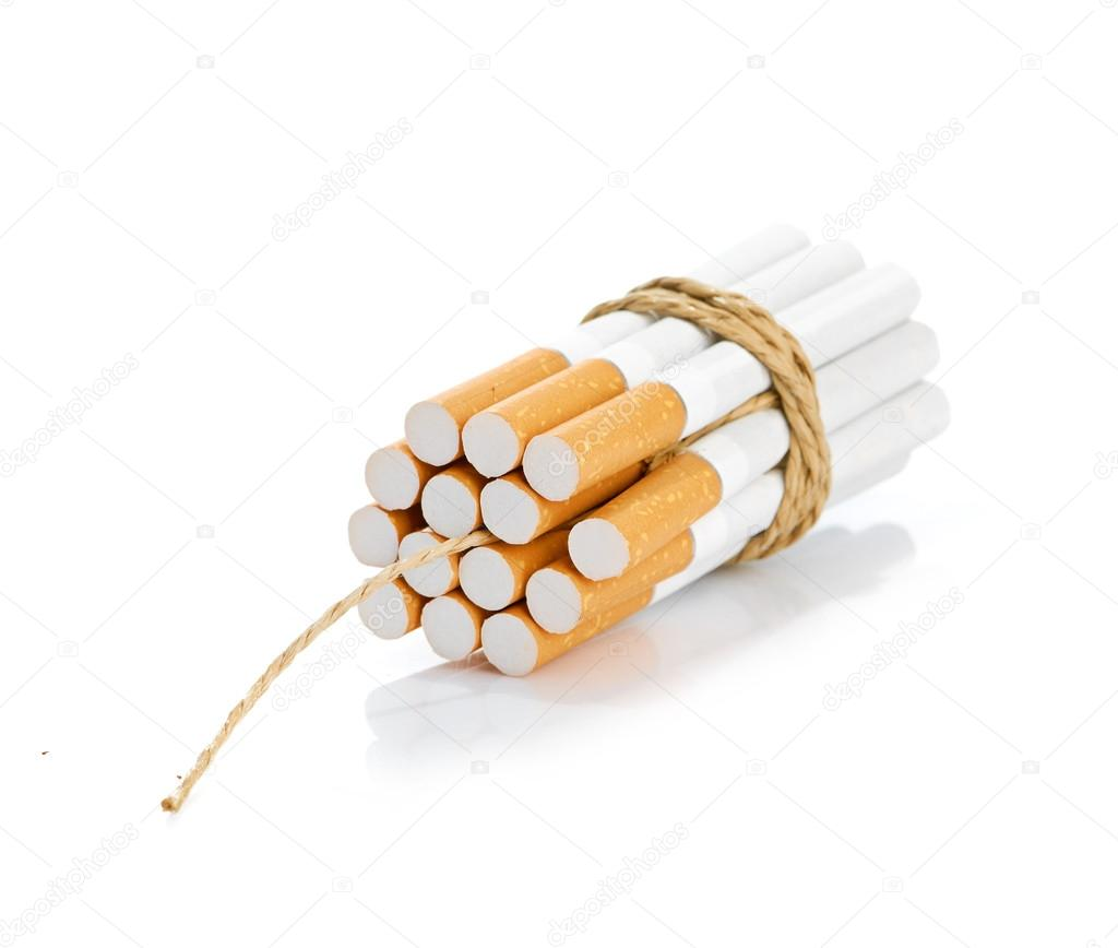 Cigarettes tied with rope and wick isolated on white — Stock Photo #12700995