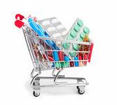 Carrello con pillole e medicina — Foto Stock