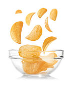 Bowl of potato chips — Stock Photo