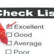 Tick placed in excellent checkbox on customer — Stockfoto