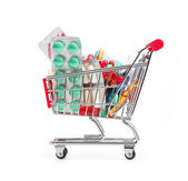 Shopping trolley with pills and medicine — Stock fotografie