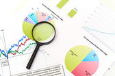 Magnifying glass on graph business search — Stock Photo