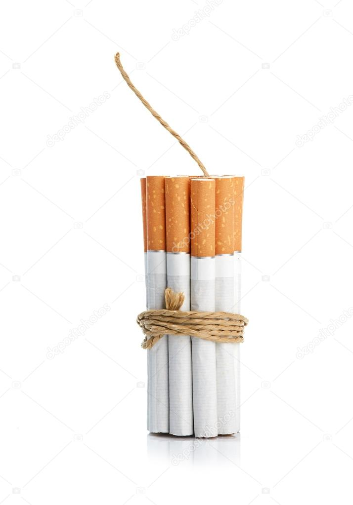 Cigarettes tied with rope and wick isolated on white — Stock Photo #13373382
