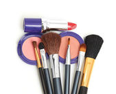 Makeup brush and cosmetics — Stock Photo