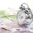 Alarm clock for euro banknotes — Стоковое фото