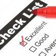 Tick placed in excellent checkbox on customer — 图库照片