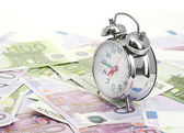 Alarm clock for euro banknotes — Fotografia Stock