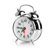 Alarm clock on white background — Stockfoto