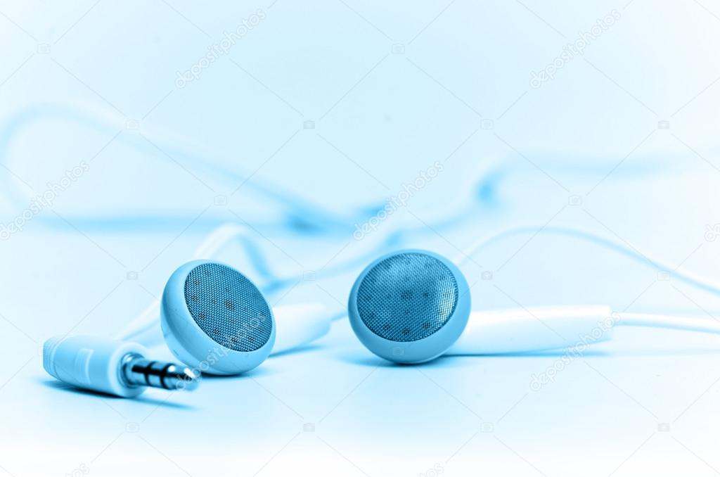 Concept of digital music white Headphones — Stock Photo #14045370