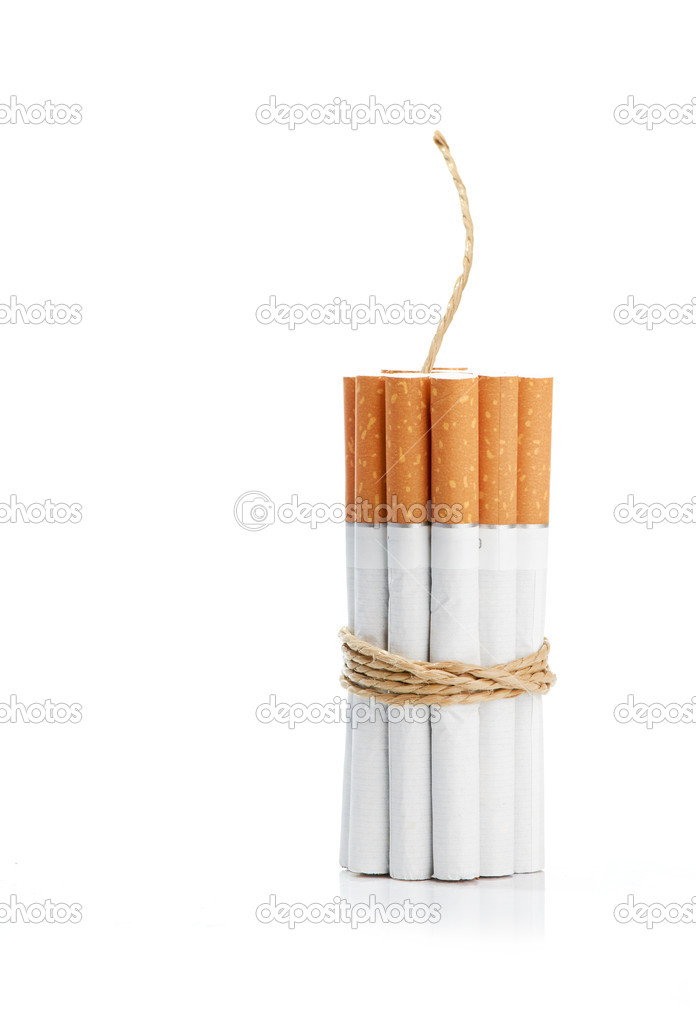 Cigarettes tied with rope and wick isolated on white — Stock Photo #14045821