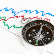 Compass on the table and graph — Stock Photo