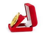 Golden medal in red gift box. — Fotografia Stock