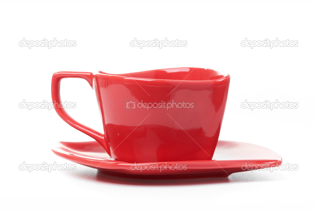 Cup of black coffee white background red mug  Stock Photo #14383231