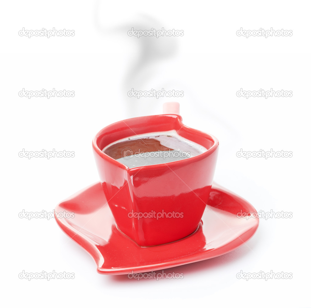 Cup of black coffee white background red mug — Stock Photo #14383271