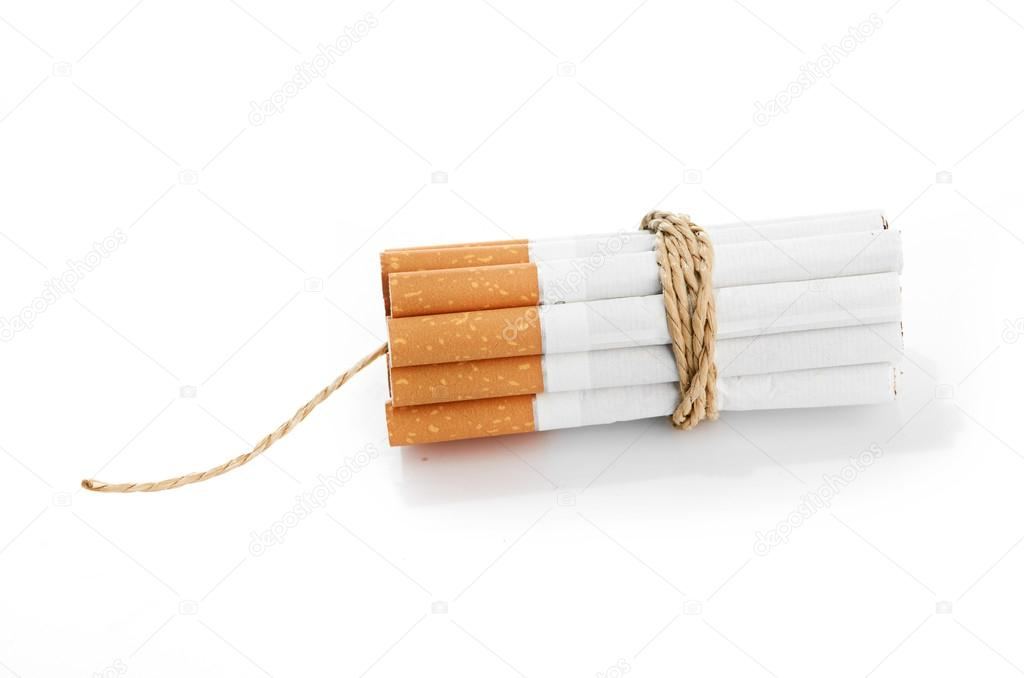 Cigarettes tied with rope and wick isolated on white — Stock Photo #14384109