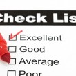 Tick placed in excellent checkbox on customer — Zdjęcie stockowe