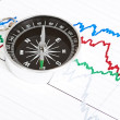 Compass on the table and graph — Stock Photo #15793177