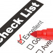 Tick placed in excellent checkbox on customer — Stok fotoğraf