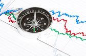 Kompas na tabulku a graf — Stock fotografie