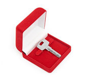 Keys in red gift box — Stock Photo
