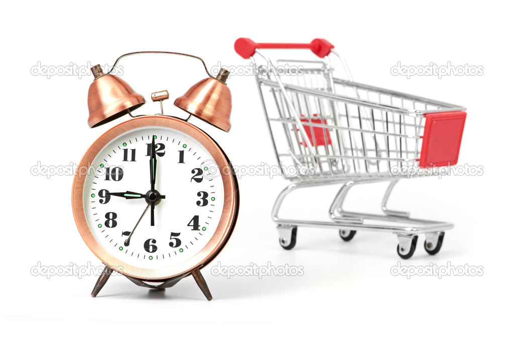 Shopping cart with clock — Stock Photo #15794443