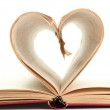 Pages of a book curved into heart — Stock Photo #16963091