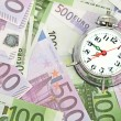 Alarm clock for euro banknotes — 图库照片