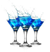 Blue curacao cocktail mit splash — Stockfoto