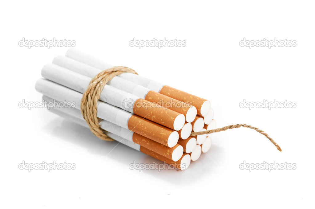 Cigarettes tied with rope and wick isolated on white — Photo #16964945