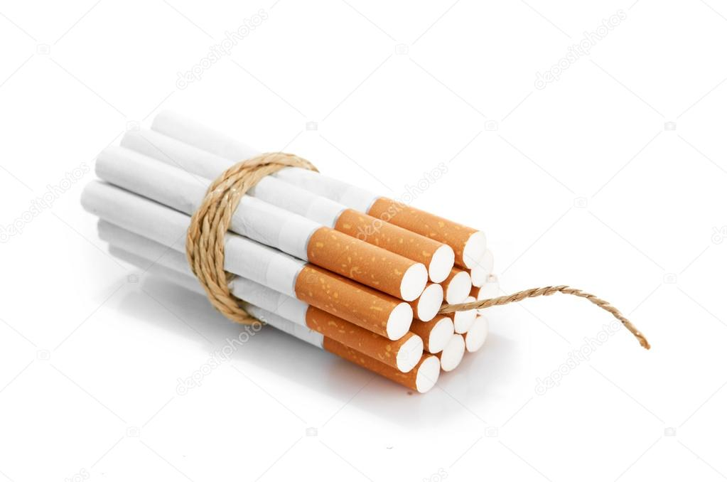 Cigarettes tied with rope and wick isolated on white — Стоковая фотография #16964945