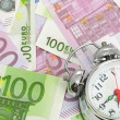 Alarm clock for euro banknotes — Stock Photo #17986979