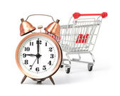 Shopping cart with clock — Stok fotoğraf