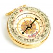 Old styled, gold compass isolated on white background — Stock Photo