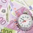 Alarm clock for euro banknotes — Stock fotografie