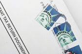 Postage stamp printed in USA shows the Statue of Liberty. — Stock Photo