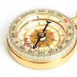 Stock Photo: Old styled, gold compass isolated on white background